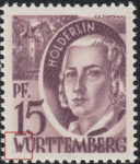 Germany Wuerttemberg postage stamp error:  Colored spot below letter W in WÜRTTEMBERG.