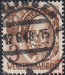 Germany Wuerttemberg postage stamp error:  Lower right frame aslant, letter G in WÜRTTEMBERG thin.
