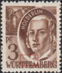 Germany Wuerttemberg postage stamp error:  Thin colored line on medallion frame above letters T and E in WÜRTTEMBERG.