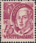 Germany Wuerttemberg postage stamp error:  Colored dot below numeral 4.