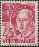 Germany Wuerttemberg postage stamp error:  Colored dot at the base of letter T to the right, letter G with additional stroke.