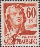 Germany Wuerttemberg postage stamp error:  Barely any shading around letter Ü in WÜRTTEMBERG.