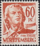 Germany Wuerttemberg postage stamp error:  Spike on right shoulder.