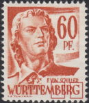 Germany Wuerttemberg postage stamp error:  Colored smudge below letter B and a dot inside letter G of WÜRTTEMBERG.