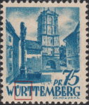 Germany Wuerttemberg postage stamp error:  First letter R in WÜRTTEMBERG open on top.