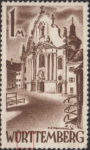 Germany Wuerttemberg postage stamp error:  Colored dot inside letter R of WÜRTTEMBERG.