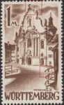 Germany Wuerttemberg postage stamp error:  Colored dot to the right from the cross, top curved protective rail to the right broken.
