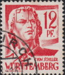 Germany Wuerttemberg postage stamp error:  Colored dot on forehead above left eyebrow.