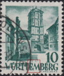 Germany Wuerttemberg postage stamp error:  White dot on letter M in WÜRTTEMBERG.
