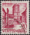 Germany Wuerttemberg postage stamp error:  Colored smudge on the left side of the top frame.