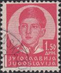 Yugoslavia King Peter 1.50 din stamp plate flaw dot below J