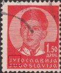 Yugoslavia King Peter 1.50 din stamp plate flaw letter Y damaged
