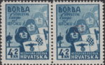 Croatia 1942 Borba udruzene Evrope na Istoku postage stamp flaw: white spot on cheek of second soldier