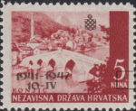 First Anniversary of Croatian Independence stamp error white spot above letter A in KUNA