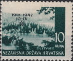 First Anniversary of Croatian Independence stamp error: missing underprint