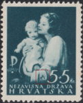 Croatia 1942 postage stamp flaw letter A on sleeve