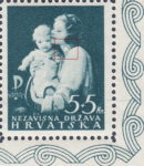 Croatia 1942 charity postage stamp flaw white circle on mother's neck