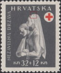Croatia 1943 Red Cross stamp error: dot on nurse's head