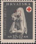 Croatia 1943 Red Cross stamp error: gray line on nurse's cheek