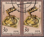 GDR 1983 Sand Glasses and Sundials postage stamp plate flaw Colored spot in front of numeral 3.