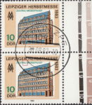 GDR 1983 Leipzig Autumn Fair postage stamp plate flaw Letter L in ZENTRAL broken.