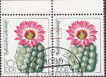 GDR 1983 Cactus plant Thelocactus schwarzii postage stamp plate flaw Tiny breach in left frame left from letters c and h in schwarzii.