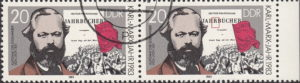 GDR 1983 Karl Marx postage stamp plate flaw Dot below the first letter R in JAHRBÜCHER.
