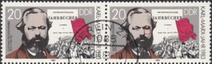 GDR 1983 Karl Marx postage stamp plate flaw Dot below Marx's right eye.