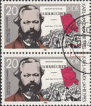GDR 1983 Karl Marx postage stamp plate flaw Thin vertical line below bottom right frame.