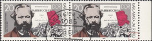 GDR 1983 Karl Marx postage stamp plate flaw Vertical thin line inside numeral 3 in 1983.