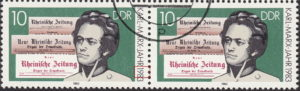GDR 1983 Karl Marx postage stamp plate flaw Numeral 9 in 1983 broken twice.