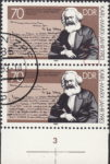 GDR 1983 Karl Marx postage stamp plate flaw Vertical hairline on Marx's right hand.