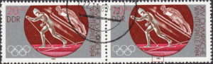 GDR 1983 Olympic games Sarajevo postage stamp plate flaw Numeral 9 in 1983 damaged.