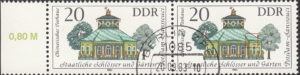 GDR 1983 Governmental Palaces Chinese Tea House postage stamp plate flaw White dot above the second window from the left.