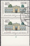 GDR 1983 Governmental Palaces Charlottenhof postage stamp plate flaw Colored dot below the second bottom window from the left.