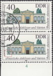 GDR 1983 Governmental Palaces Charlottenhof postage stamp plate flaw White dot below the first bottom window from the left.