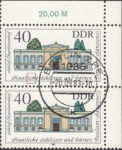 GDR 1983 Governmental Palaces Charlottenhof postage stamp plate flaw Letter c in Staatliche damaged.