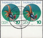 GDR 1983 Glass of Thuringia postage stamp plate flaw Line on cock's sickle broken.