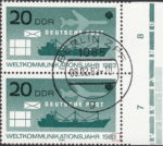 GDR 1983 World Communications Year postage stamp plate flaw Minuscule colored line next to numeral 3 in 1983.