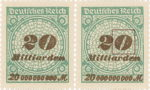 Germany 1923 inflation 20 milliard postage stamp flaw