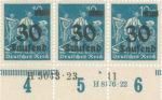 Germany postage stamp sheet element Row numbering Reihenzähler Bottom margin protection Unterrandschutz, HAN Nummer