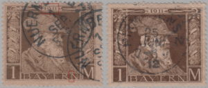 Bavaria 1911 Luitpold marks postage stamp types 1 and 2