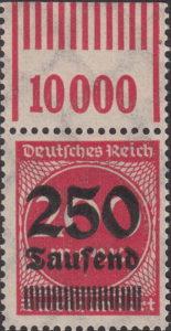 Germany inflation postage stamp OPD top margin not overprinted