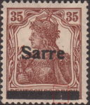 Germany 1920 SARRE postage stamp type canceling bar split to quarters