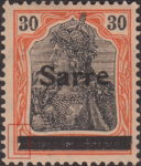 Germany 1920 SARRE postage stamp type lower part of canceling bar damaged