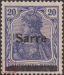 Germany 1920 SARRE postage stamp type top left corner of canceling bar damaged