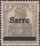 Germany 1920 SARRE postage stamp overprint flaw letter e in Sarre damaged