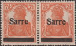 Germany 1920 SARRE postage stamp overprint flaw letter e in Sarre broken