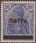 Germany 1920 SARRE postage stamp overprint flaw letter S flat on top