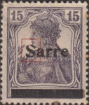 Germany 1920 SARRE postage stamp overprint flaw letter S in SARRE open on top